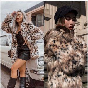 Majorelle Stella faux fur coat in snow leopard